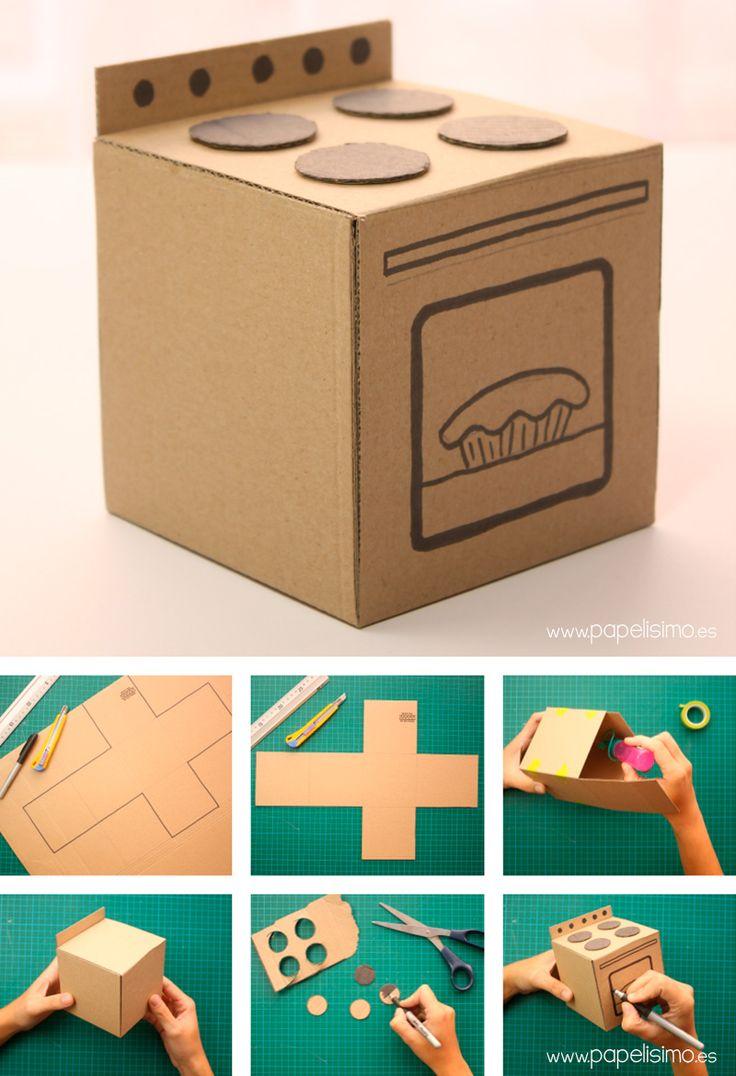 Cocina de cart n hecha a mano papelisimo manualidades for Cocina de carton