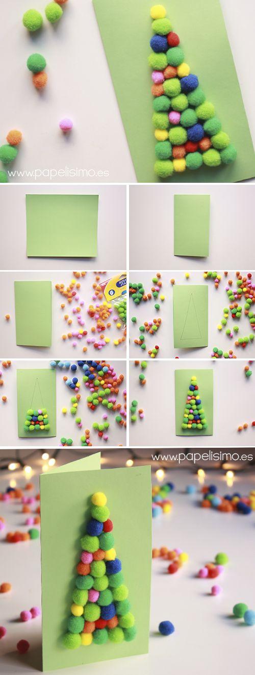 Tarjetas navide as con pompones para ni os - Como hacer tarjetas navidenas originales ...