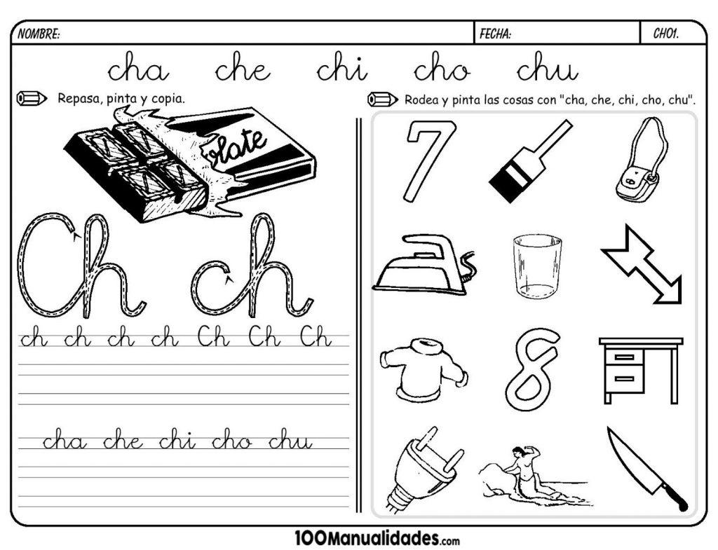 Dibujos Para Colorear Que Empiecen Con La Letra A: Fichas Letra CH Dibujos Para Colorear Que Empiecen Con La