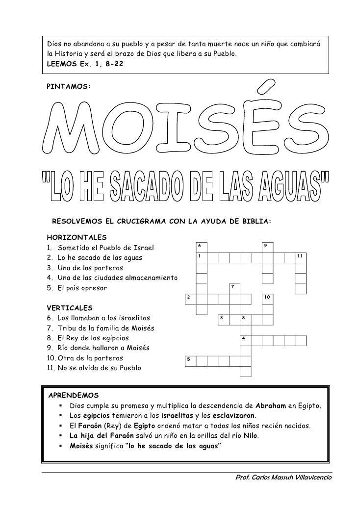 Resultado de imagen de crucigrama de moises para niños... – Manualidades