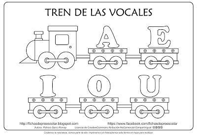 Tren De Las Vocales Mayúsculas Para Colorear Manualidades
